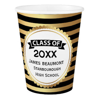 Golden stripes on black, Class of, Graduation Paper Cup