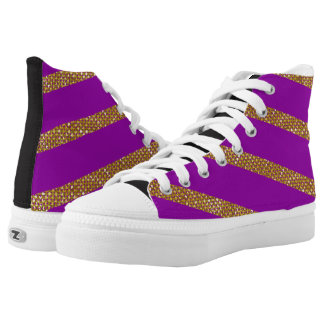 Golden Stripes On Purple Background High Tops