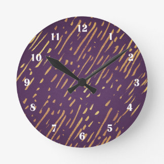 Golden Stripes Purple Passion Clock