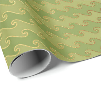 Golden  Stripes Waves Mint Green Pastel Salvia Wrapping Paper