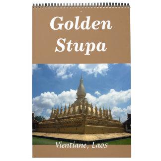 golden stupa laos wall calendars