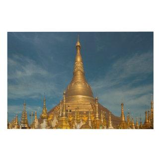 Golden Stupa Temple Wood Wall Art