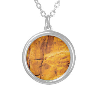 golden sun kissed stone silver plated necklace