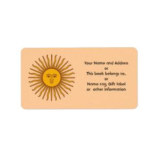 Golden Sun of Argentina Flag Name Address Labels