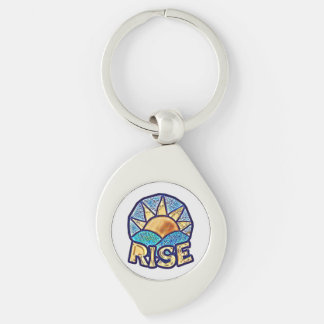 Golden Sun Rise ~ Uplifting Message Silver-Colored Swirl Key Ring