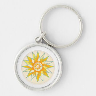 Golden Sun Shine Flower Silver-Colored Round Key Ring