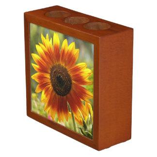 Golden Sunflower Floral Desk Organiser
