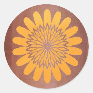 Golden Sunflower on Copper Strip Round Sticker