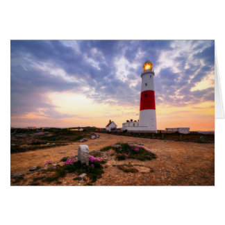 Golden Sunrise At Portland Bill Lighthouse Card