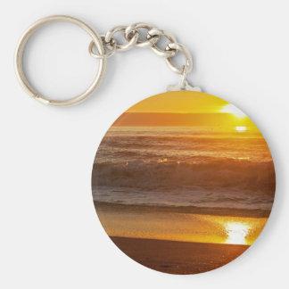 Golden Sunset at Horsfall Beach Key Ring