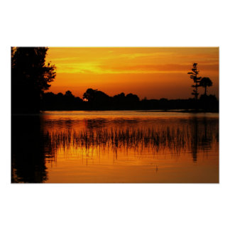 Golden Sunset Behind a Lake Posters