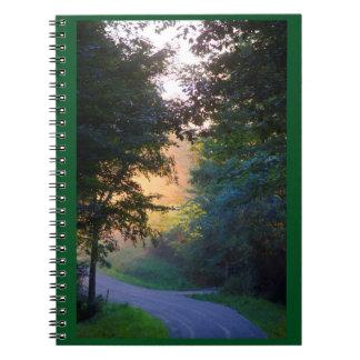 Golden sunset nature landscape photo notebook