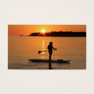 Golden Sunset Paddle boarder Business Card