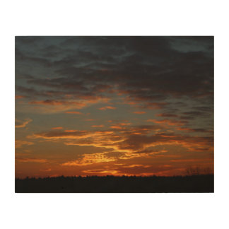 Golden Sunset Sky Wood Canvas