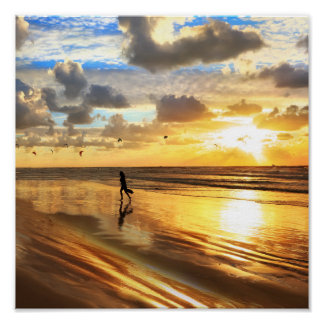 Golden Surf Sunset Poster