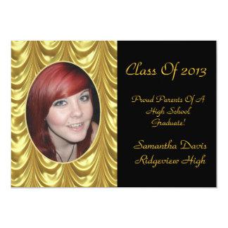 Golden Swag Graduation Add Your Photo 13 Cm X 18 Cm Invitation Card