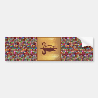 Golden SWAN -  Happy Holidays Decorations Bumper Sticker