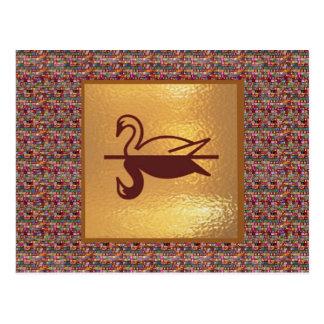 Golden SWAN -  Happy Holidays Decorations Postcard