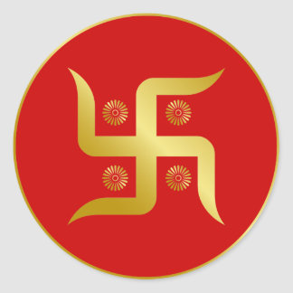 Golden Swastika Round Sticker