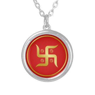 Golden Swastika SIgn Round Pendant Necklace