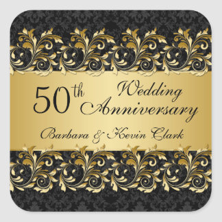 Golden swirls, damask 50th Wedding Anniversary Square Sticker