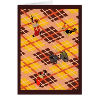 Golden tartan plaid winter Christmas Card