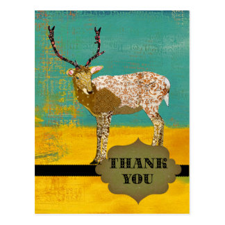 Golden Teal Ornate Deer  Thank You Postcard