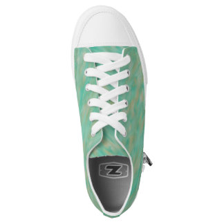 Golden Teal Wind Pattern Low Top Canvas Shoes