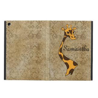 Golden Textured Cartoon Giraffe - iPad Air Case