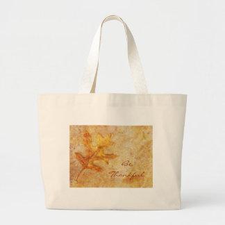 Golden Textured Leaf Canvas Bag