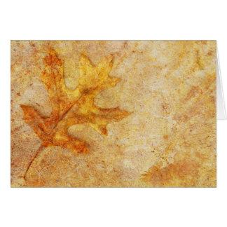 Golden Textured Leaf Greeting Card