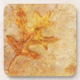 Golden Textured Leaf Drink Coaster
