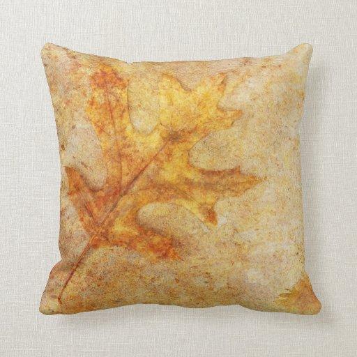 Golden Textured Leaf Throw Pillow