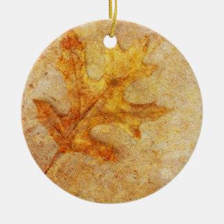 Golden Textured Leaf Ornaments
