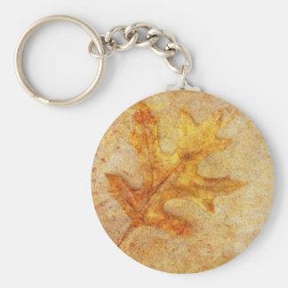 Golden Textured Leaf Keychains