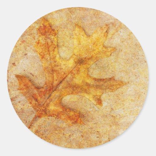 Golden Textured Leaf Stickers