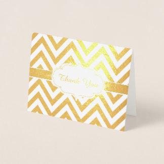 Golden Thank You Chevron ZigZag Pattern Foil Card