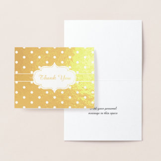 Golden Thank You Classic Polka Dot Pattern Foil Card