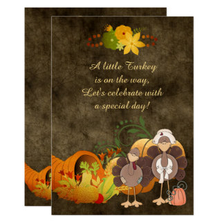 Golden Thanksgiving Boy Turkey Baby Shower Invite