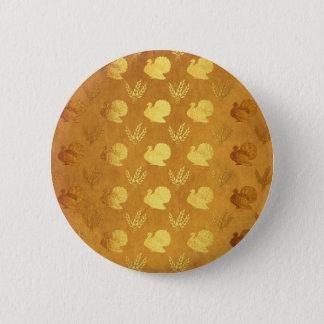 Golden Thanksgiving with Turkey 6 Cm Round Badge