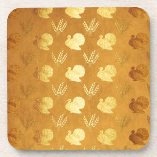 Golden Thanksgiving with Turkey Coaster