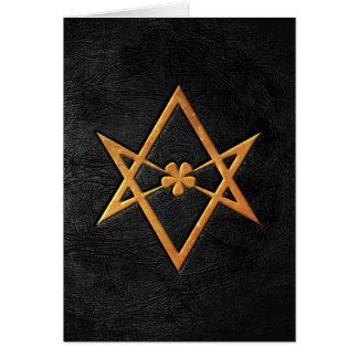 Golden Thelemic Unicursal Hexagram Black Leather Card
