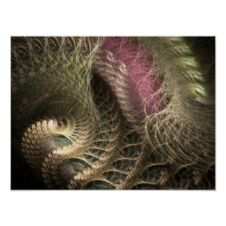 Golden Threads Flame Fractal Poster