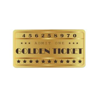 Golden Ticket Admit One Stars  Birthday Party Address Label