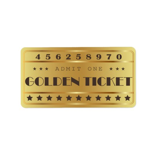 Golden Ticket Admit One Stars  Birthday Party Label