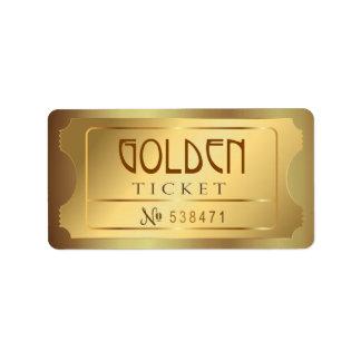 Golden Ticket Admit One Stars Free Entry Vintage Label