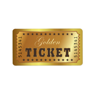 Golden Ticket Admit One Stars Number Entry Vintage Label