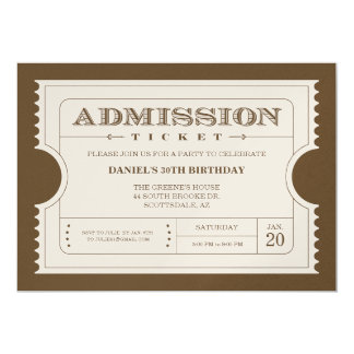 "Golden Ticket Invitations on Gold Sparkle Paper 5"" X 7"" Invitation Card"