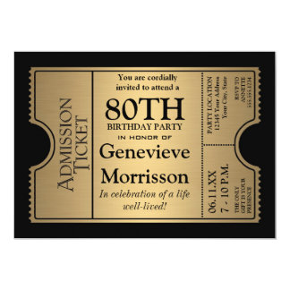 Golden Ticket Style 80th Birthday Party Invite