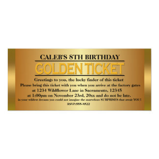 GOLDEN TICKET TYPE Birthday Party Event Invitation